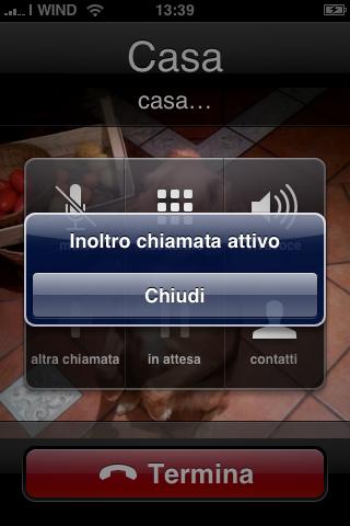 Schermata Inoltro Chiamata Iphone